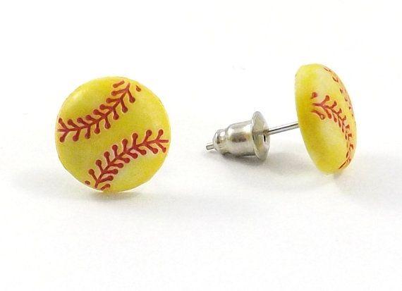 Softball Earrings - Tiny Softball - Mini Softball Stud - Sports Earrings - Softball Jewelry - Yellow Softball - Baseball - Team Sports