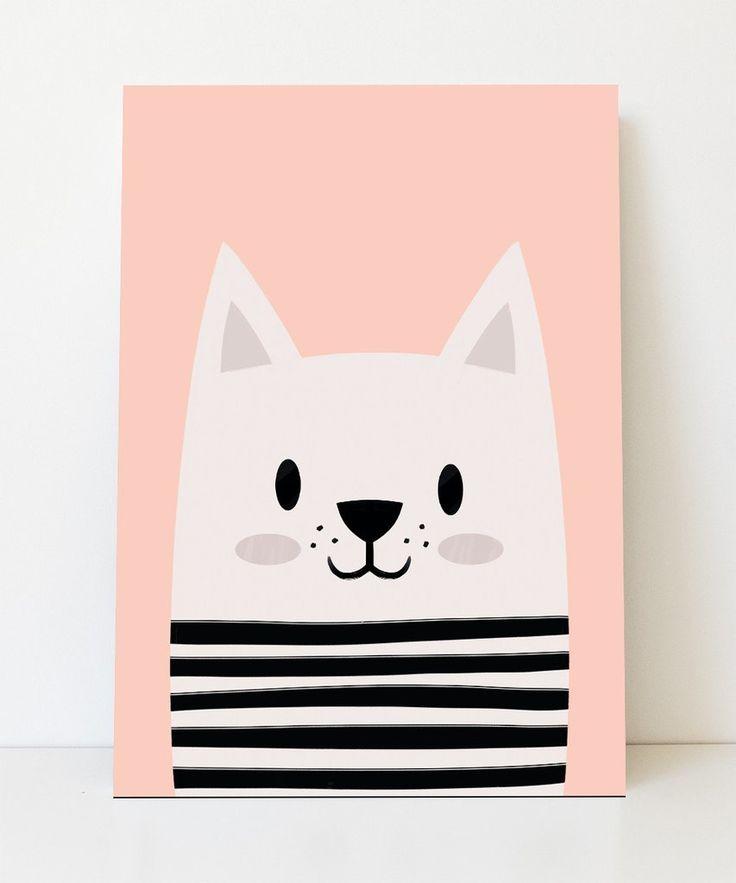 Lámina gatito con sueter a rayas