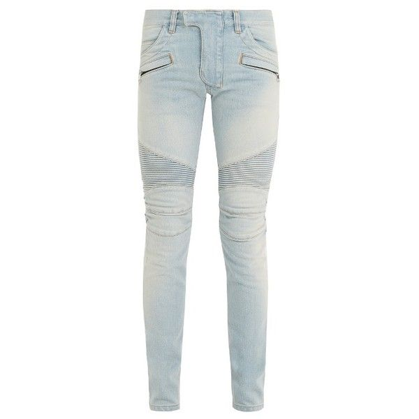 Balmain Mid-rise skinny biker jeans ($1,395) ❤ liked on Polyvore featuring men's fashion, men's clothing, men's jeans, blue, mens skinny fit jeans, mens skinny jeans, mens blue jeans, mens flap pocket jeans and mens mid rise jeans