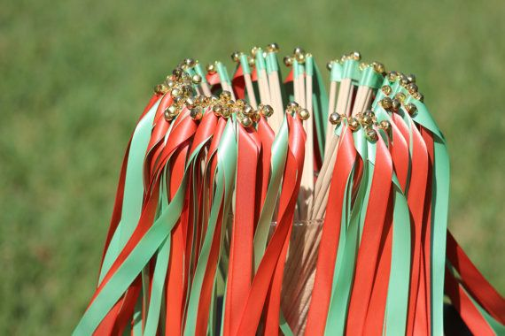 150 Double Ribbon Wands with bells - Coral Mint Party streamers - Party Decorations Wedding Decoration Ceremony on Etsy, $195.00