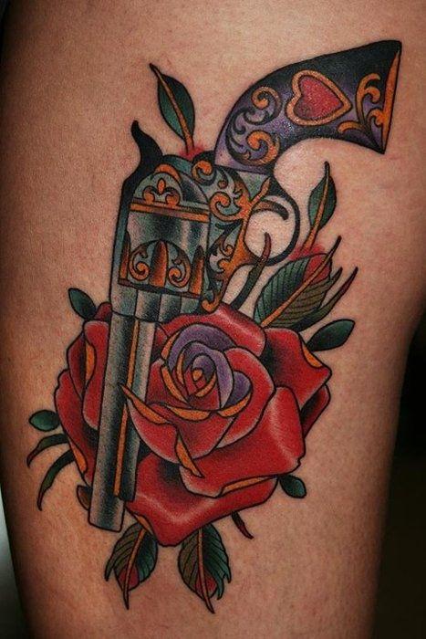 pistol tattoos   Pistol-and-rose-tattoo » Tattoo designs