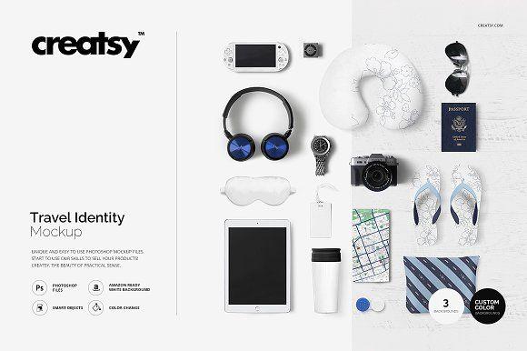 Travel Identity Mockup With Headphone Ipad Luggage Tag
