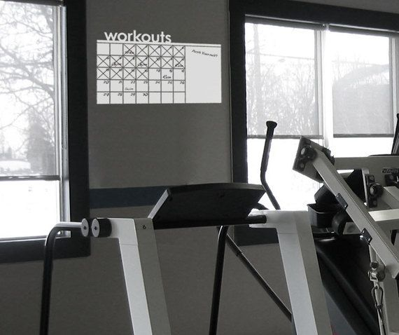 Dry Erase Motivational Workout Wall Calendar, Planner, To Do List, and Memo Decal for Gym, Home, Living Room, Office or Bedroom. $32.00, via Etsy.
