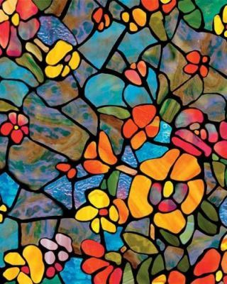 WINDOW FILM - STAINED GLASS/SOLIDS - Stained Glass Venetian Garden Window Film - Browse Animal Print Wallpaper and Clearance Wallpaper Styles Here