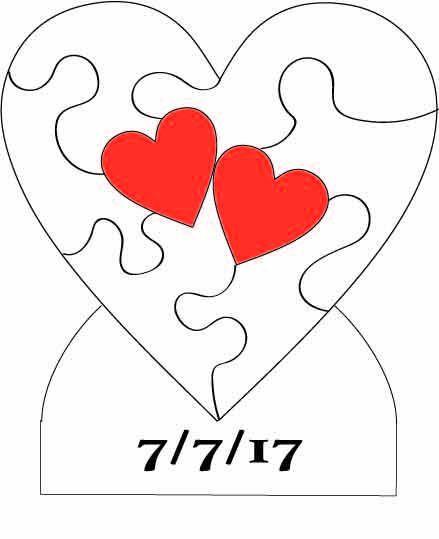 Aangepaste gedateerd  twee harten gewonnen als een puzzel