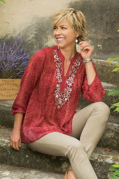 In a red herringbone print, our Annalise Top has exuberant embroidery and beading! A sheer chiffon means this lightweight top can transition your style from later summer to fall. Wear it with dark denim, or light colored leggings.