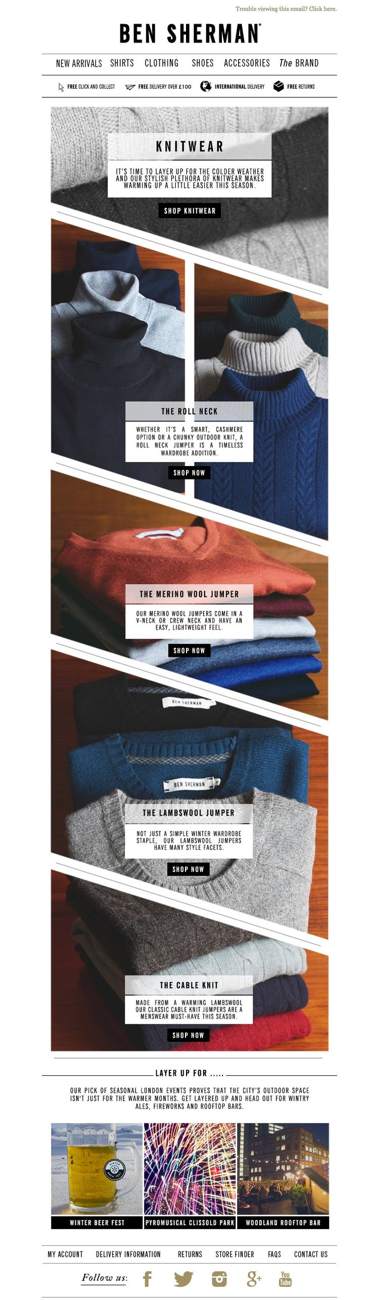 #newsletter Ben Sherman 11.2014 Feeling the chill? Reach for this season's knitwear