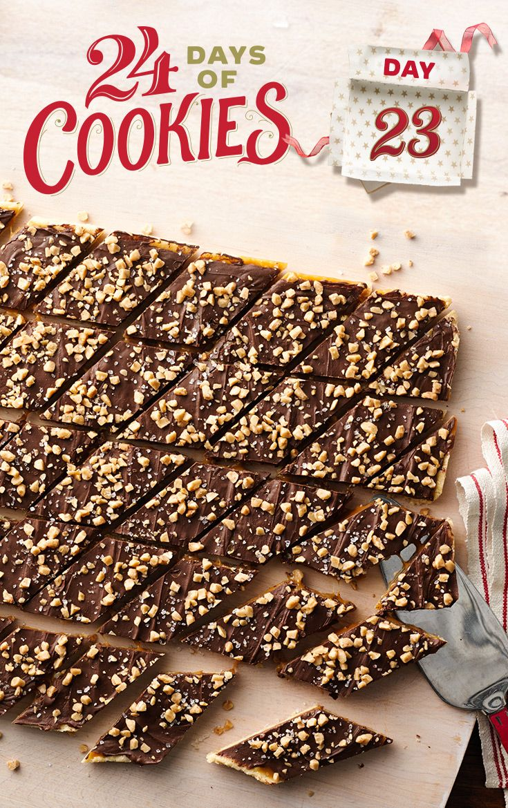 Chocolate, caramel and sea salt team up with a sugar cookie crust to create a decadent bar. If you've never bought toffee bits before, you'll find them in the baking aisle sold in bags like chocolate chips. Cut into triangle, diamond or small squares for an eye-catching addition to your cookie trays!