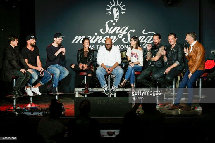 Michael Patrick Kelly, Tilmann Otto alias Gentleman, Mark Forster, Stefanie Kloss, Moses Pelham, Lena Meyer-Landrut, Alec Voelkel, Sascha Vollmer and Kai Sturm during the 'Sing meinen Song' Press Conference on April 5, 2017 in Berlin, Germany.