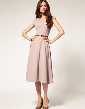 Midi Dress With Contrast Belt - I'd like it better in a different color (maybe black?) but the overall style is quite attractive.