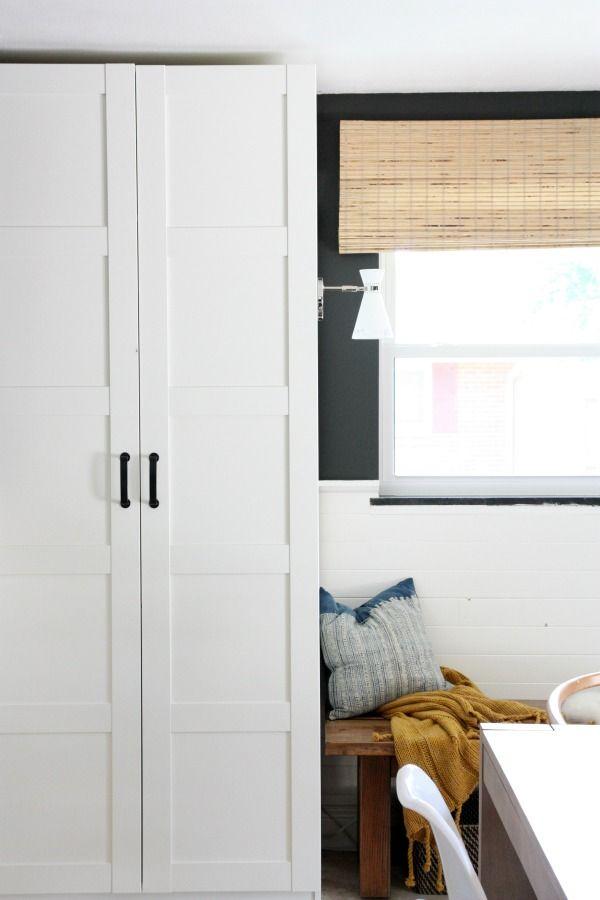 Wardrobes IKEA Pax units with Bergsbo doors; fauxdenza