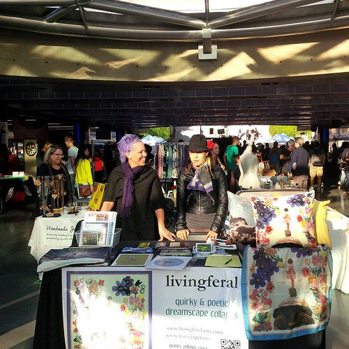 staff at my livingferal table at Etsy Made in Canada market at Robson Square, Vancouver - Sept. 27