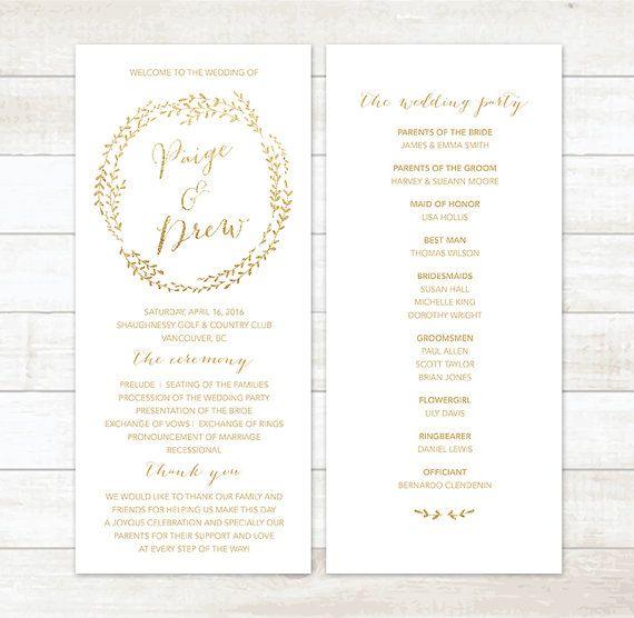 Gold Glitter Wedding Program White And Printable Custom Circle
