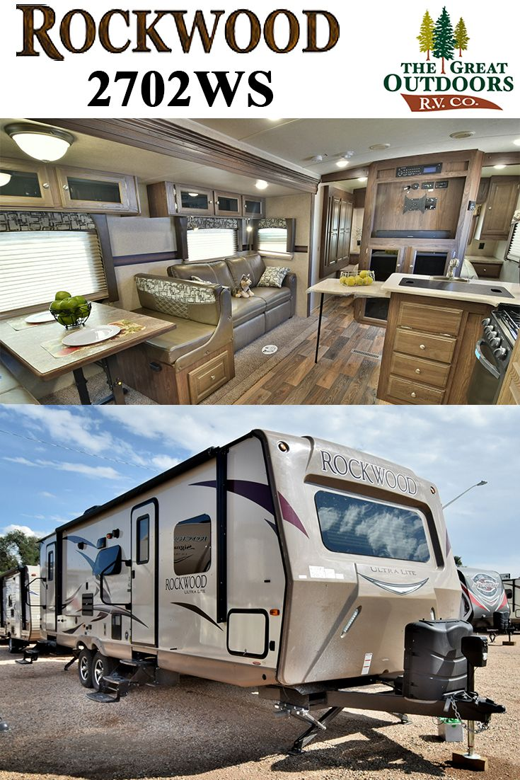 http://www.thegreatoutdoorsrv.com/rockwood/2702ws  The 2702WS features great living space and sleeping capacity. The kitchen and sofa slide provides a lot of room to enjoy company or simply relax. The bunk system includes two large 48×76 beds and the master now has a slide for the wardrobe which provides ample space. The 2702WS is a great pull-behind camper trailer for you and your family.