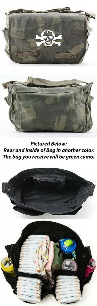 Cool Punk Rock Diaper Bag: Skull Camo