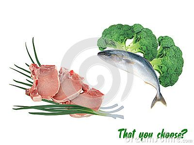 Vegetarian fish and meat with vegetables on аisolated background