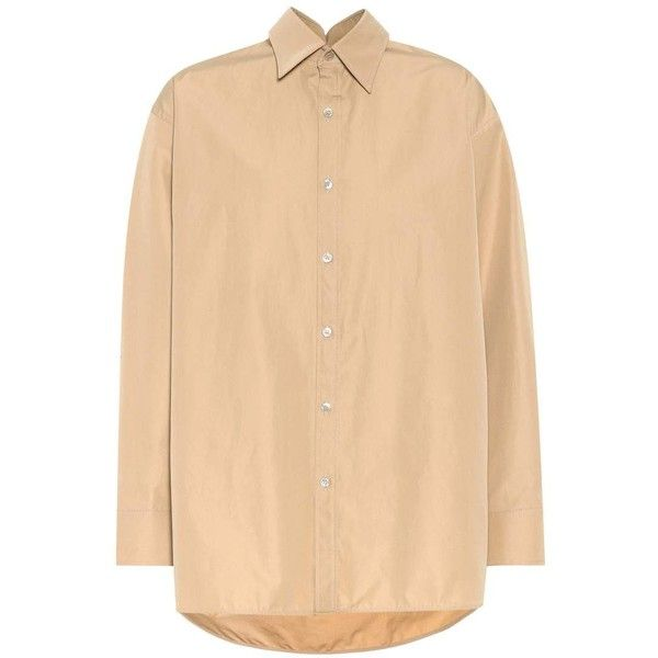 Balenciaga Pinched Collar Cotton Shirt (€640) ❤ liked on Polyvore featuring tops, beige, beige top, woven cotton shirt, balenciaga top, shirt top and balenciaga shirt