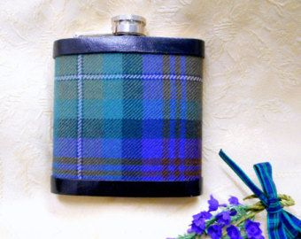 Ushers or Best Man gifts Harris Tweed hip flasks set of five, with celtic shield, optional personalized labels, groomsman gift, Scottish wedding made in Scotland Choose any five...either all the same or in any combination  A beautiful set of Harris Tweed covered hip flasks in traditional tweeds of many varieties ,pure new wool hand woven in the Outer Hebrides, every one with beautiful colours which blend together exquisitely! Trimmed with real black leather edging, set with a hand cast…