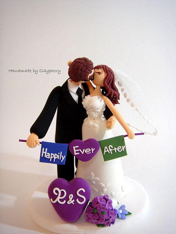 Romántica boda personalizada de la torta por Clayphory en Etsy