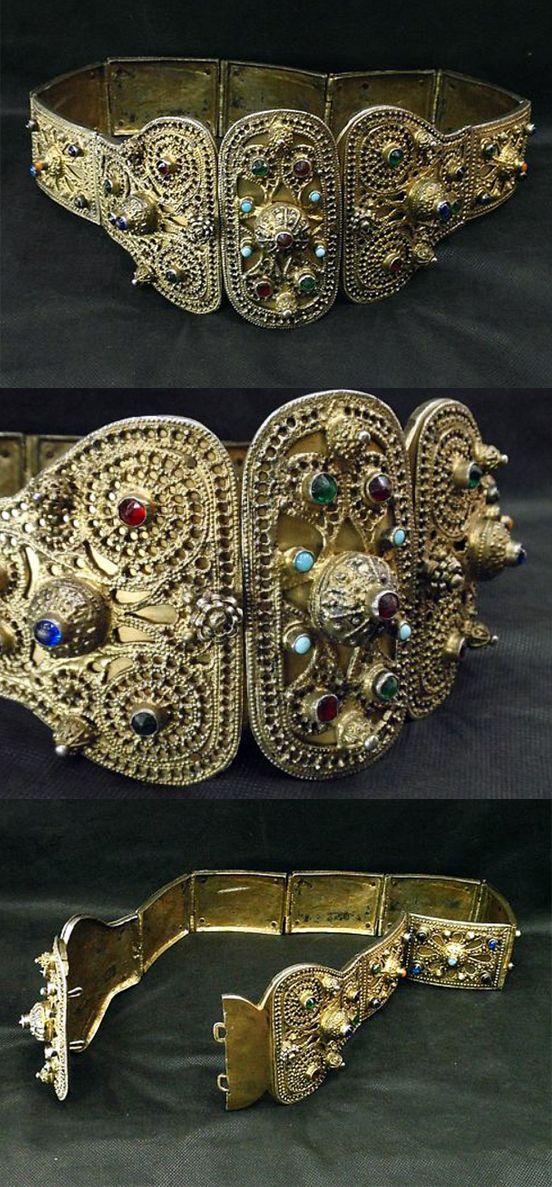 Antique Caucasian (probably Dagestan) silver gilt/gold plate belt | 3,000$