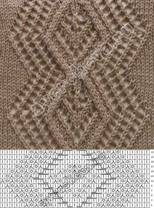 узор 121 ажурный ромб| каталог вязаных спицами узоров