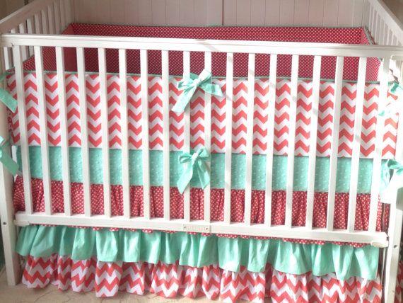 coral and mint ruffled crib bedding set deposit green