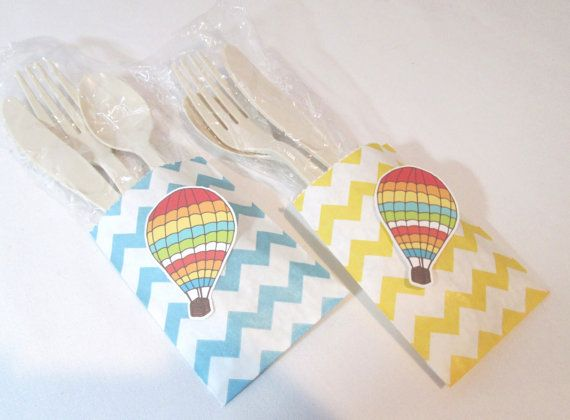 Up Up and Away! Chevron Hot Air Balloon Party Favor Goodie Bags by PartyFetti