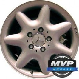 ALLOY WHEEL, 16 INCHES, 5 STUDS/LUGS, 112MM BOLT, 7 SPOKES, ALL PAINTED SILVER, MERCEDES C240 2001-2004