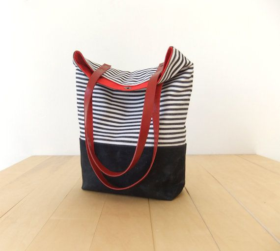 Waterproof Striped Tote Bag - Waxed Canvas Base in Black - Leather Handles in Red - Red Lining - Shoulder Bag