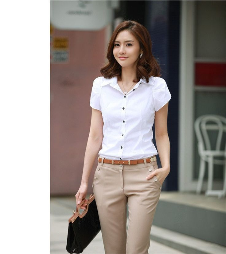 Hot Sales Blusas 2015 New Women's Fashion Office Shirt Lapel Puff OL Slim White Short Sleeved Business Casual Shirt Women Blouse-in Blouses & Shirts from Women's Clothing & Accessories on Aliexpress.com   Alibaba Group
