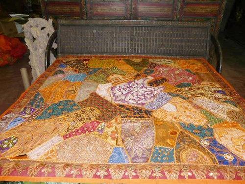 Bedroom Decor India Bedspread Beaded Throw Tapestry Orange Queen Size Bed Cover | eBay $299.00
