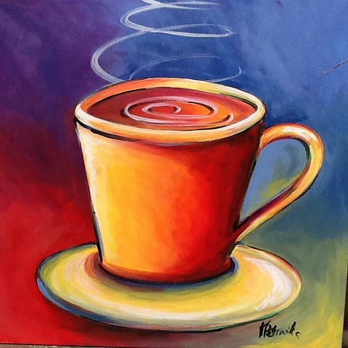 Coffee Cup 30x30 Original Acrylic Painting