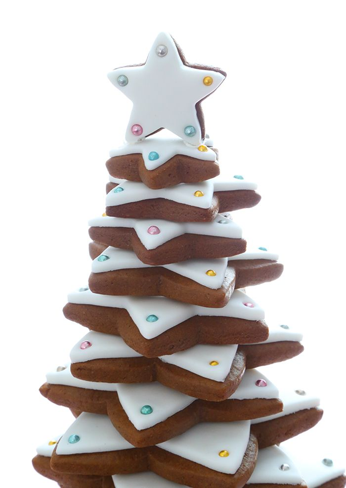 Gingerbread Star Cookie Tree In 2019 Holiday Cookies Star