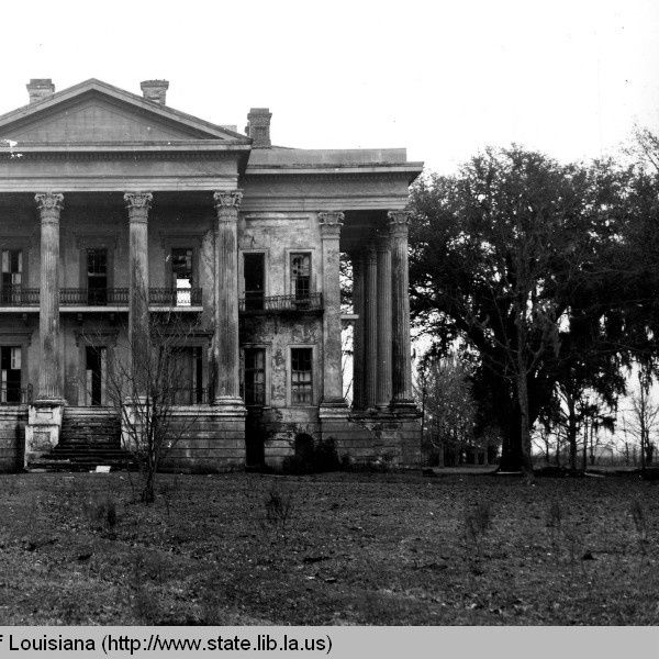 River side view of Belle Grove plantation near White Castle Louisiana