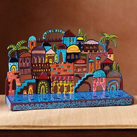 Painted Metal Jerusalem Scene Menorah