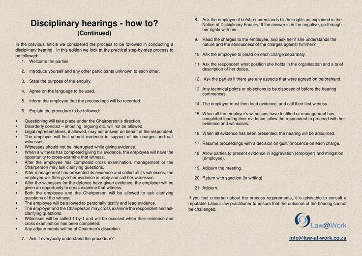 Disciplinary hearing ... cont