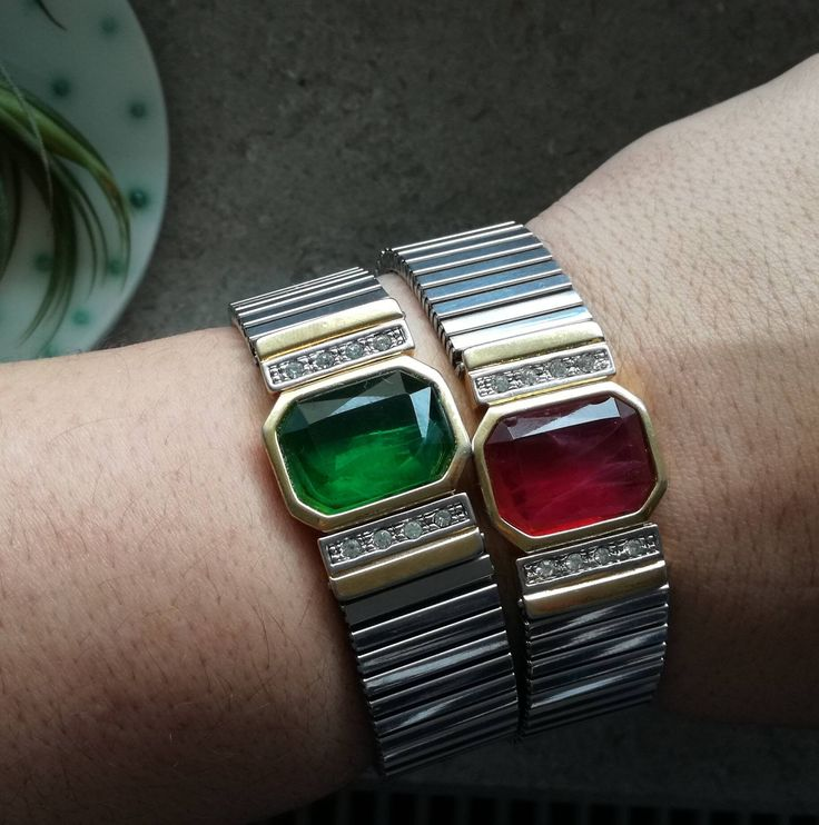 Added today in my #etsy shop: Pair of vintage bracelets, glamour cuffs #jewelry #bracelet #geometric http://etsy.me/2FFHSVG