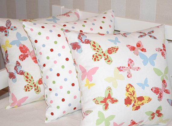 "Kids Pillow Set, Butterfly Pillow Cover, Polka Dot Pillow Cover, 16x16"" Toddler Pillow Cover, Butterflies Pillow Cover, Throw Pillow Cover"