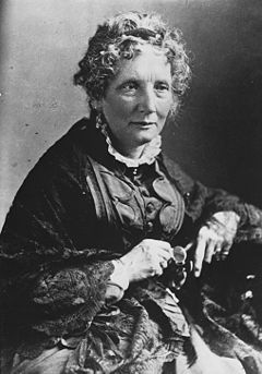 """Harriet Beecher Stowe was a life long anti slavery campaigner. Her novel """"Uncle Tom's Cabin"""" was a best seller and helped to popularise the anti slavery campaign. Abraham Lincoln would later remark her books were a major factor behind the American civil war."""