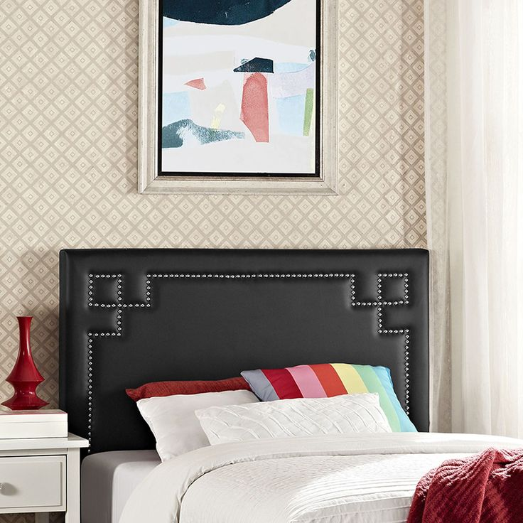 Josie Twin Vinyl Headboard, Black - Enhance decor with the elegant Josie Headboard in Vinyl. Fashioned with diamond-patterned silver accent nail buttons, Josie features a solid wood frame, adjustable black coated metal legs, and dense foam padding for ultimate support. Designed to delight, Josie is a glamorous piece that complements traditional, contemporary and modern bedrooms admirably. Fully Compatible with Sharon, Sherry and Helen Platform Bed Frames. Set Includes: One - Josie Twin…