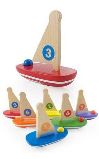 Little Wood Sail Boat Bath Tub Fun | ToySmith |085761068193