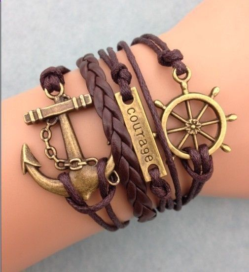 Courage Anchor & Boat Wheel Fashion Bracelet,leather bracelets lowest price at www.costwe.com .Supply all kinds of antique anchor leather bracelet,leather bangle ,chain bracelet,charm bracelet,craft bracelet,fashion bracelet,folk bracelet,friendship gift,girl bracelet,handmade bracelet buy at www.costwe.com