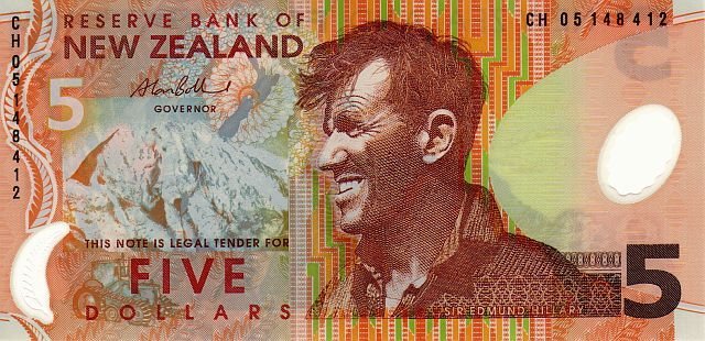 5 New Zealand dollar note