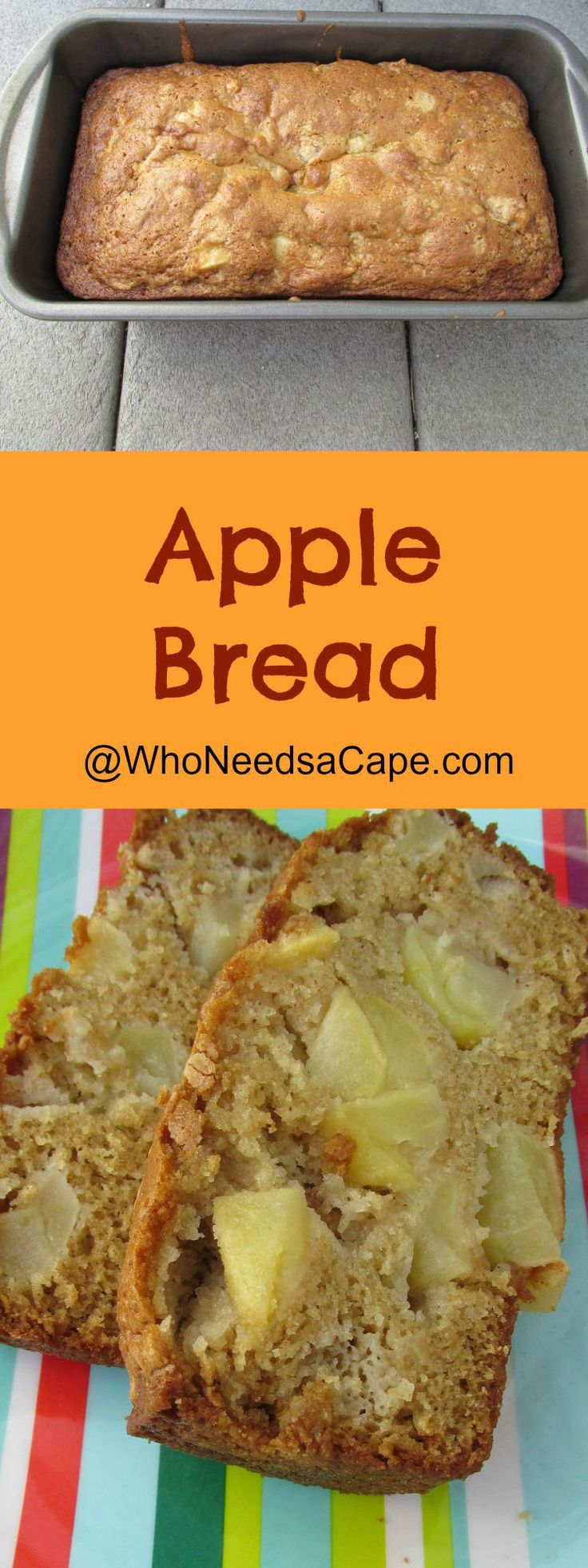 Apple Bread - easy and delicious. The top gets a really nice sugary crust. It's very sweet though.