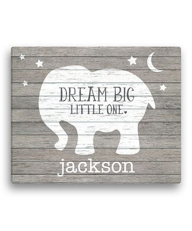 Gray Elephant 'Dream Big Little One' Personalized Canvas #zulily #zulilyfinds