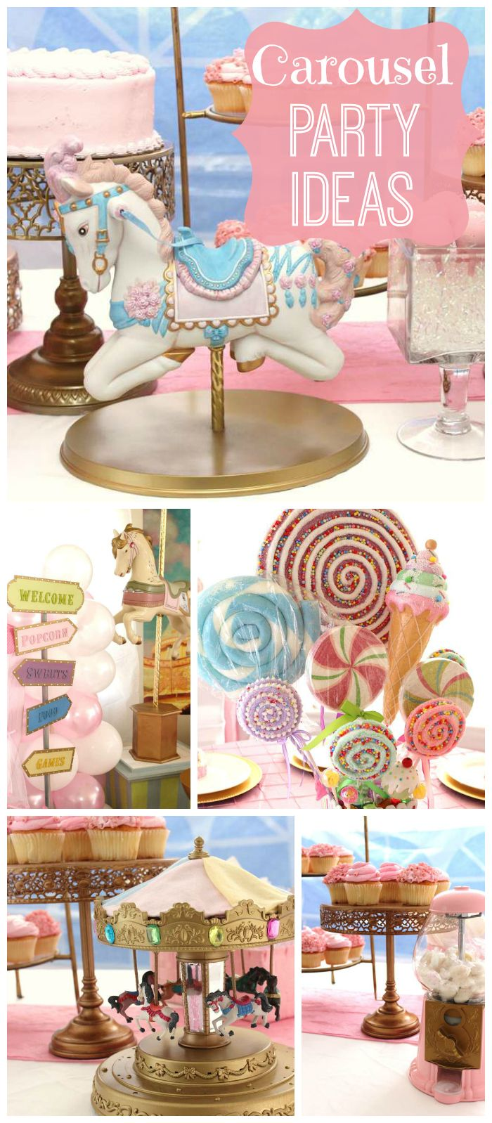 This pastel carousel themed baby shower has lovely sweets and decorations! See more party planning ideas at CatchMyParty.com!