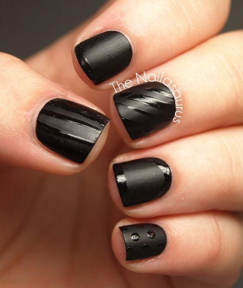 The Nailasaurus: Black on Black: Nails Art, Art Blog, Black Matte, Black Polish, Matte Black Nails, Black Design, Black On Black, Matte Nails Design, Matte Nails Polish