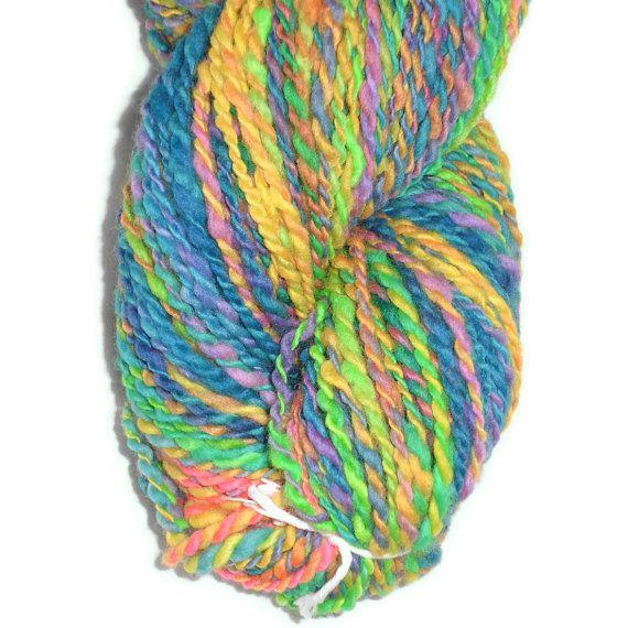 Handspun, Hand Dyed Merino Wool 2 Ply Rainbow Colors