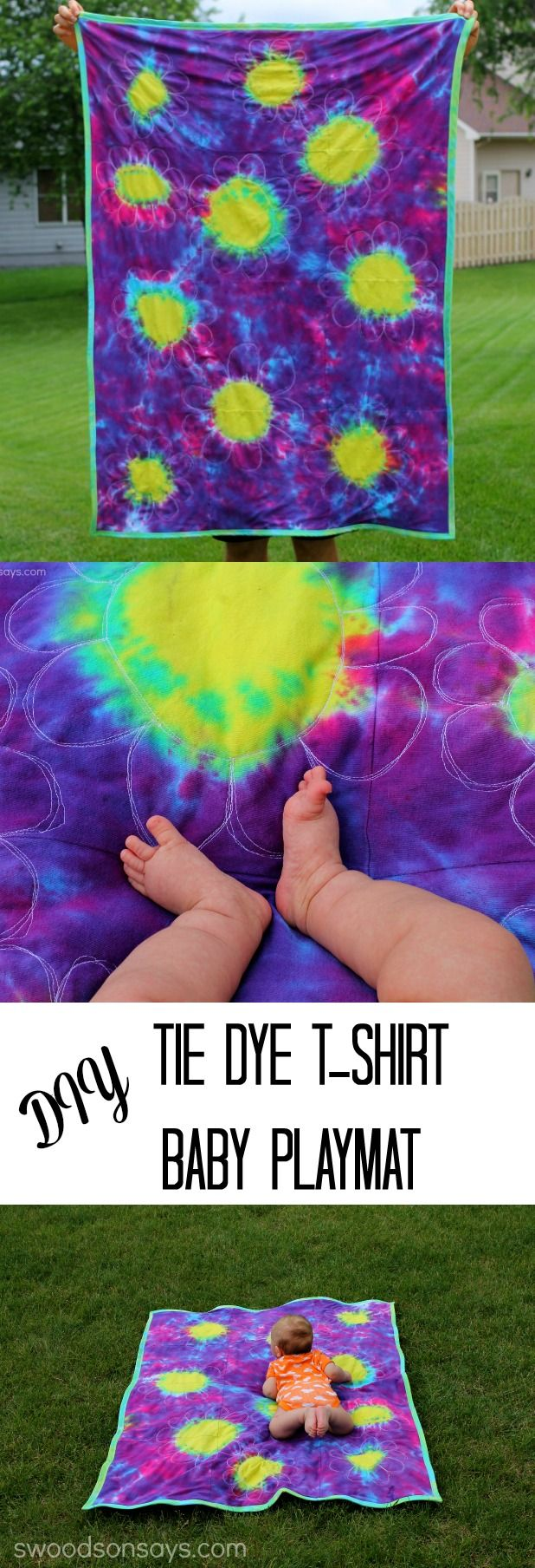 Transform a pile of old white t-shirts into a fun tie dyed quilt! Perfect as a baby playmat or picnic blanket, this upcycled sewing project uses the sunburst technique for tie dye.