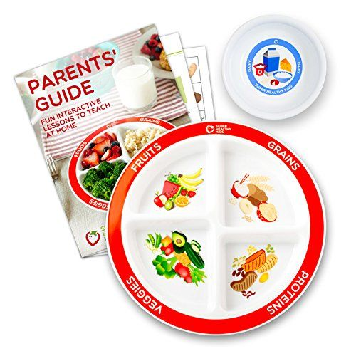 MyPlate Divided Kids Portion Plate Plus Dairy Bowl and Lesson Plan for Picky Eaters 4-Pack